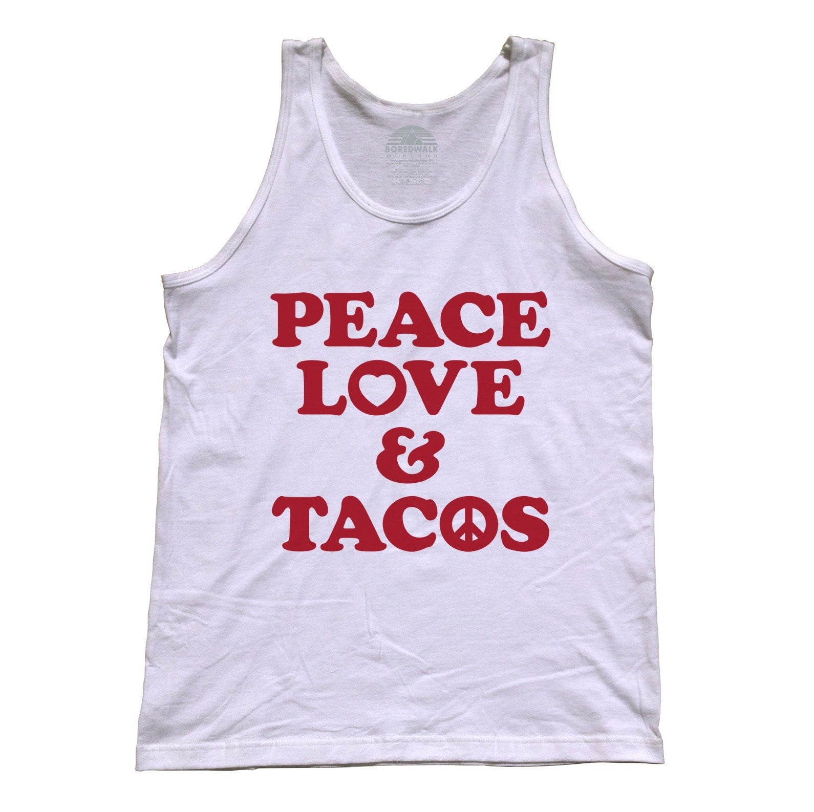 Unisex Peace Love and Tacos Tank Top