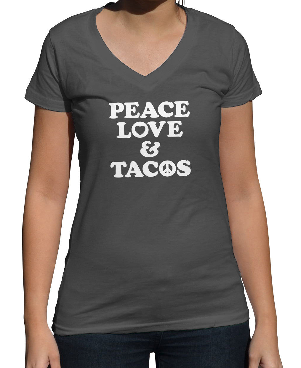 Women's Peace Love and Tacos Vneck T-Shirt