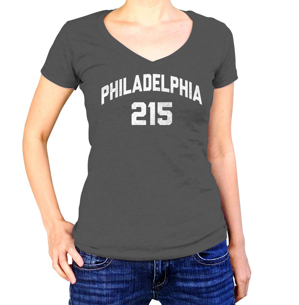 Women's Philadelphia 215 Area Code Vneck T-Shirt