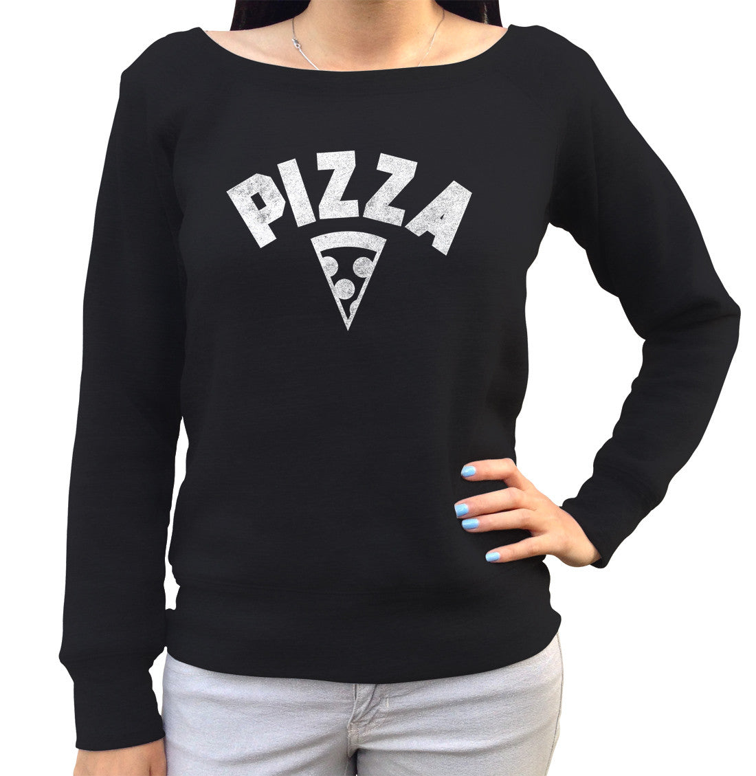 Women's Team Pizza Scoop Neck Fleece Vintage Retro Athletic Logo Inspired