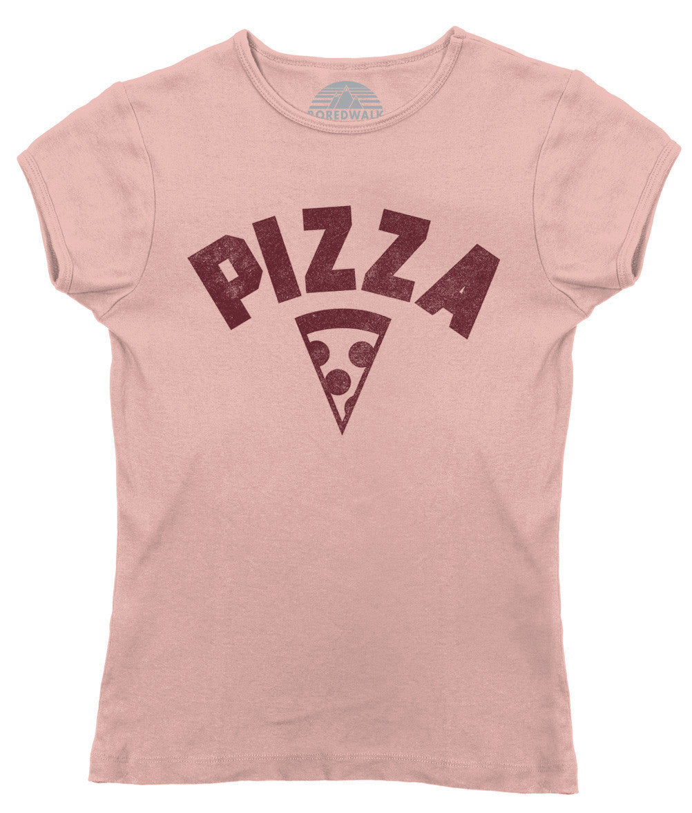 Women's Team Pizza T-Shirt Vintage Retro Athletic Logo Inspired