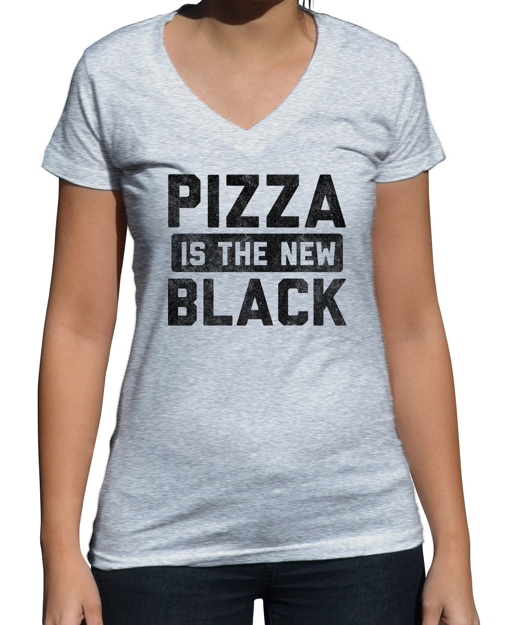 Women's Pizza is the New Black Vneck T-Shirt Foodie Shirt - Food Snob