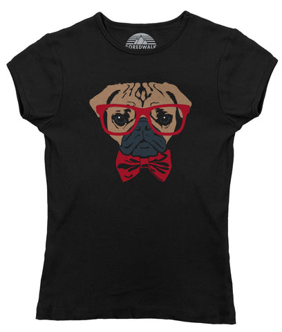 Women's Bowtie And Glasses On A Pug T-Shirt Hipster Pug T Shirt