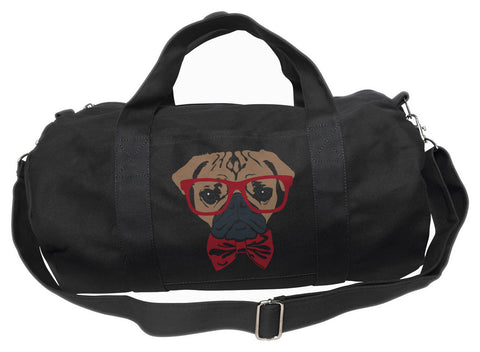 Bowtie And Glasses On A Pug  Duffel Bag