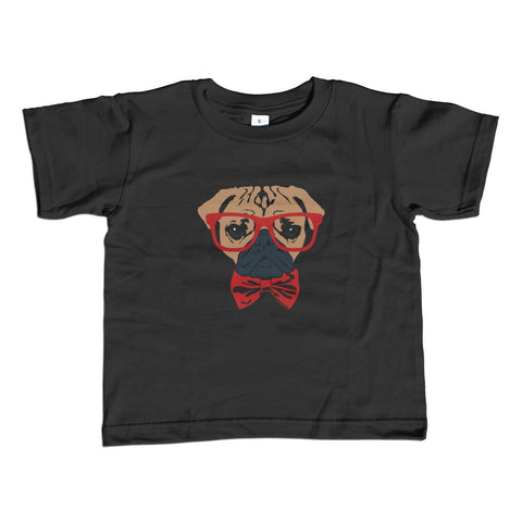 Girl's Bowtie and Glasses on a Pug T-Shirt - Unisex Fit Hipster Pug