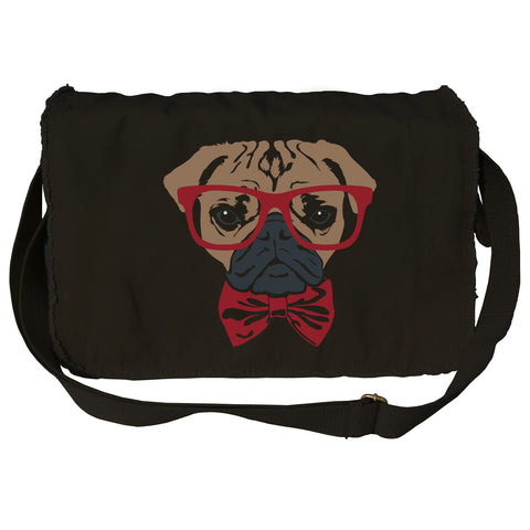 Bowtie And Glasses On A Pug  Messenger Bag