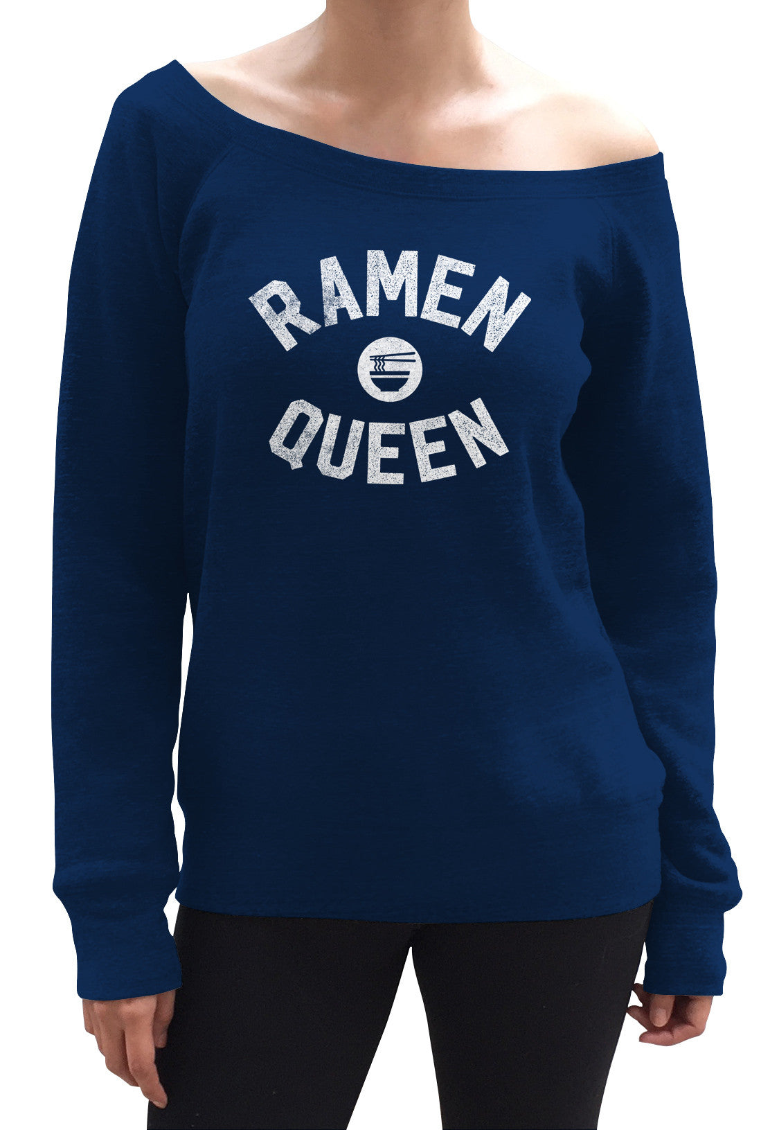 Women's Ramen Queen Scoop Neck Fleece - Funny Hipster Foodie