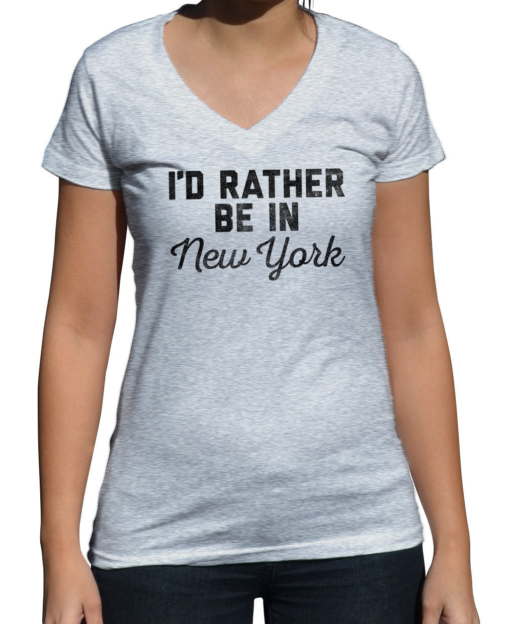 Women's I'd Rather Be in New York Vneck T-Shirt