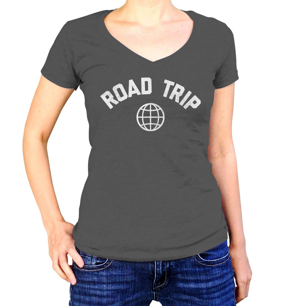 Women's Road Trip Vneck T-Shirt Retro Athletic Travel