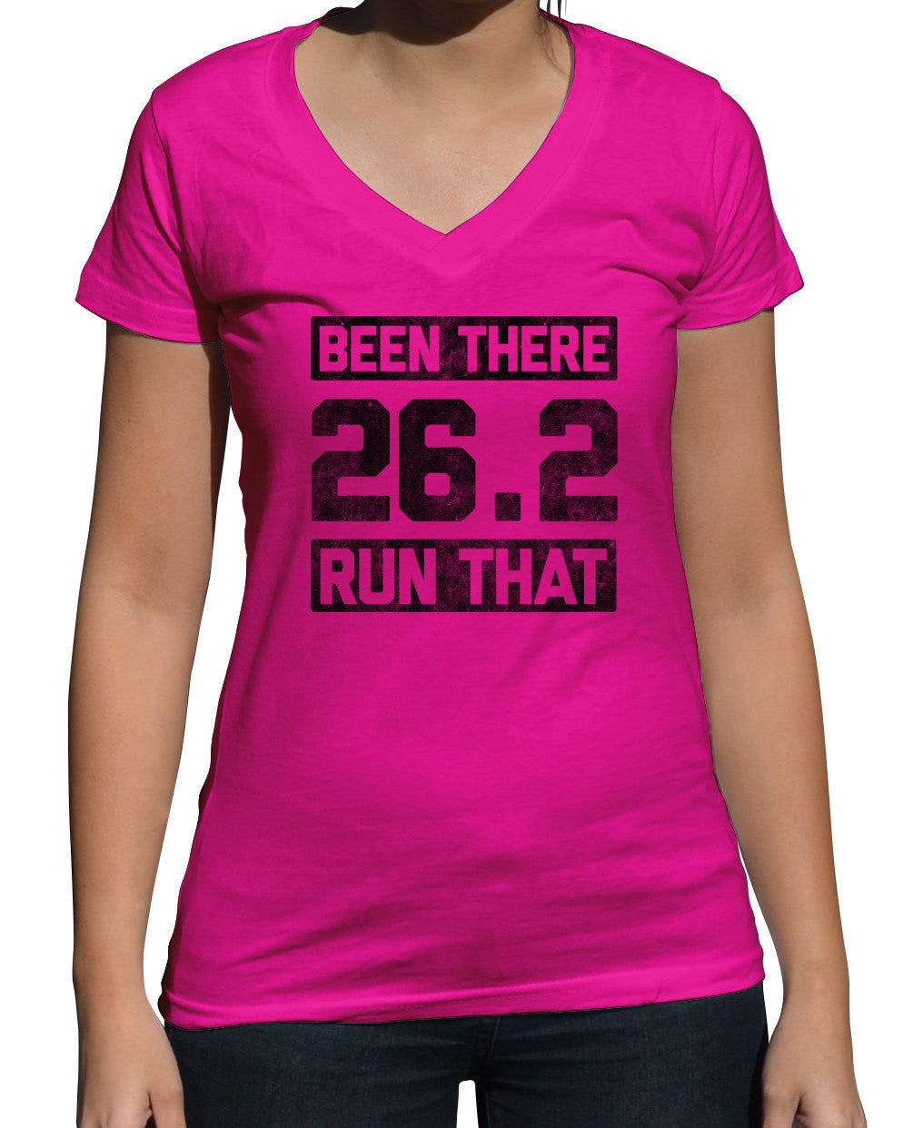 Women's 26.2 Been There Run That Vneck T-Shirt Marathon Runner