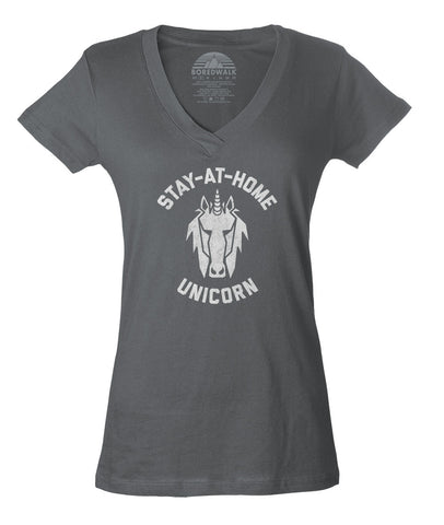 Women's Stay at Home Unicorn Vneck T-Shirt - Juniors Fit
