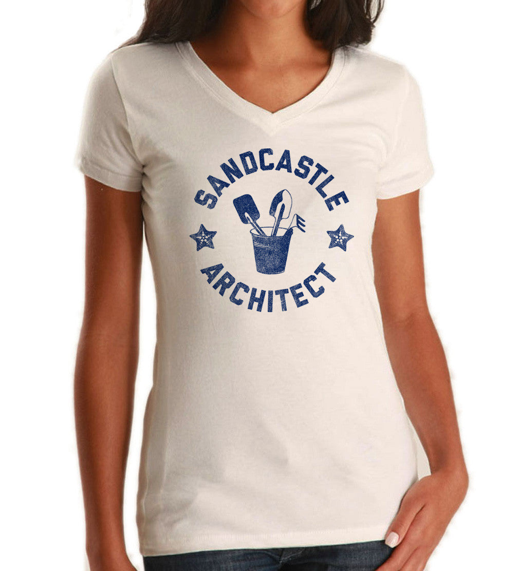 Women's Sandcastle Architect Vneck T-Shirt Sand Castle Shirt