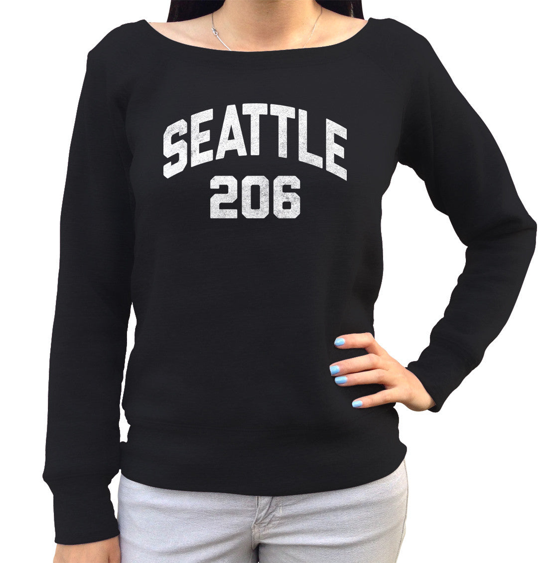 Women's Seattle 206 Area Code Scoop Neck Fleece