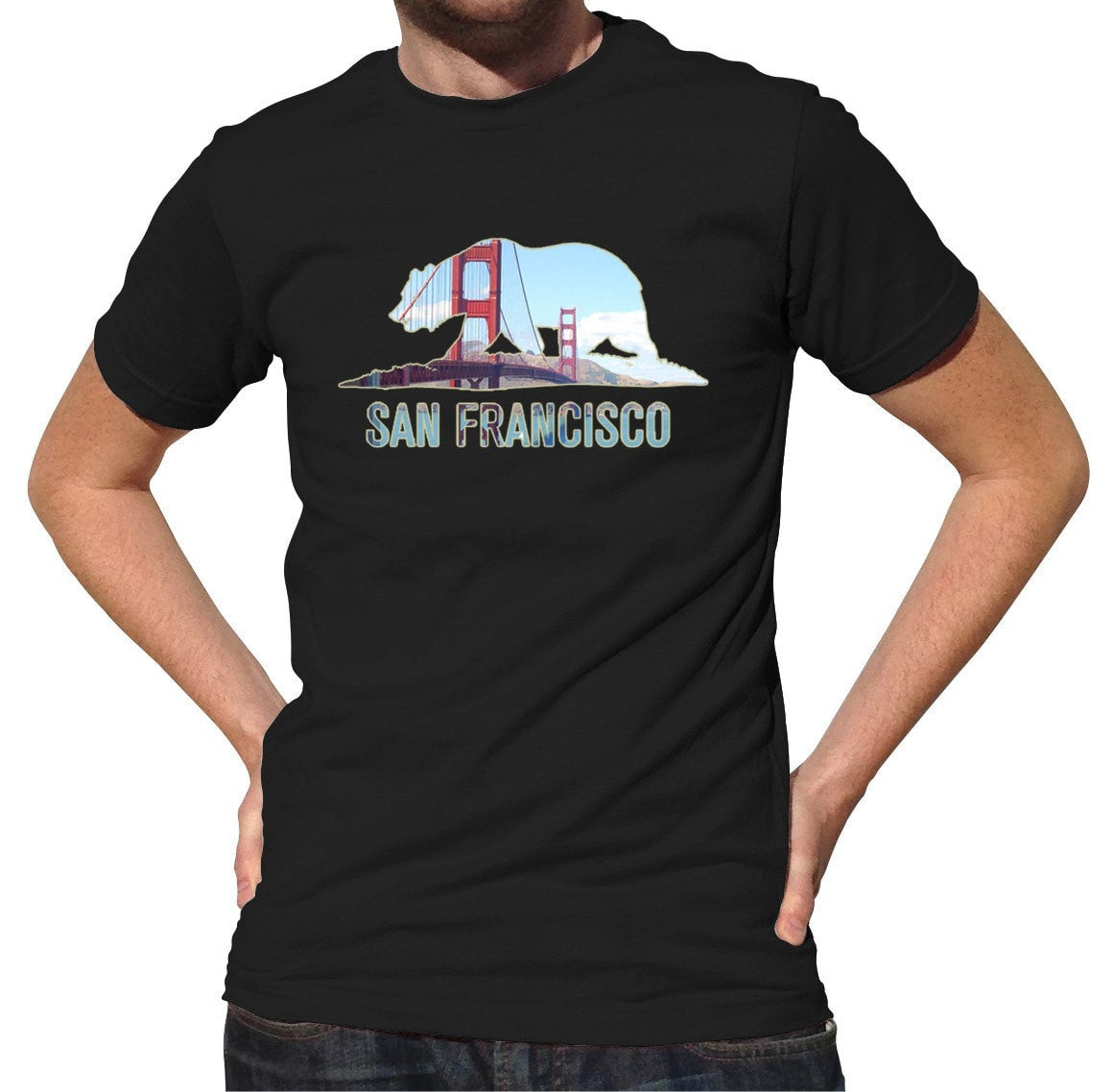 Men's San Francisco T-Shirt Bear and Golden Gate Bridge