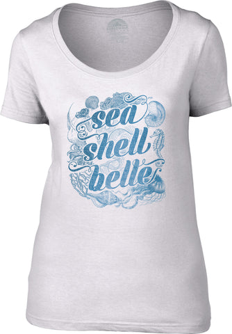 Women's Sea Shell Belle Scoop Neck Shirt Boho Chic Nautical Beach Mermaid