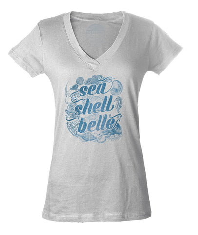 Women's Sea Shell Belle Vneck T-Shirt - Juniors Fit - Boho Chic Nautical Beach Mermaid