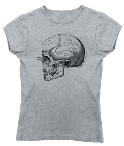 Women's Skull Anatomy Diagram T-Shirt
