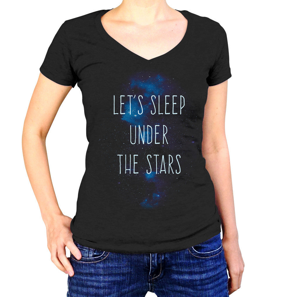 Women's Let's Sleep Under the Stars Vneck T-Shirt Camping Stargazing