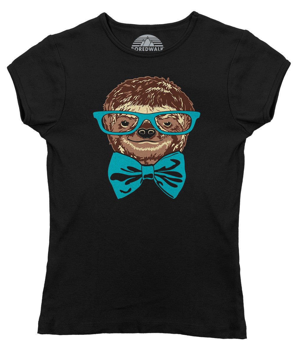 Women's Glasses and Bowtie on a Sloth T-Shirt Hipster Sloth