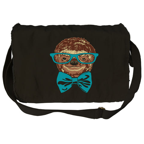 Glasses and Bowtie on a Sloth Messenger Bag
