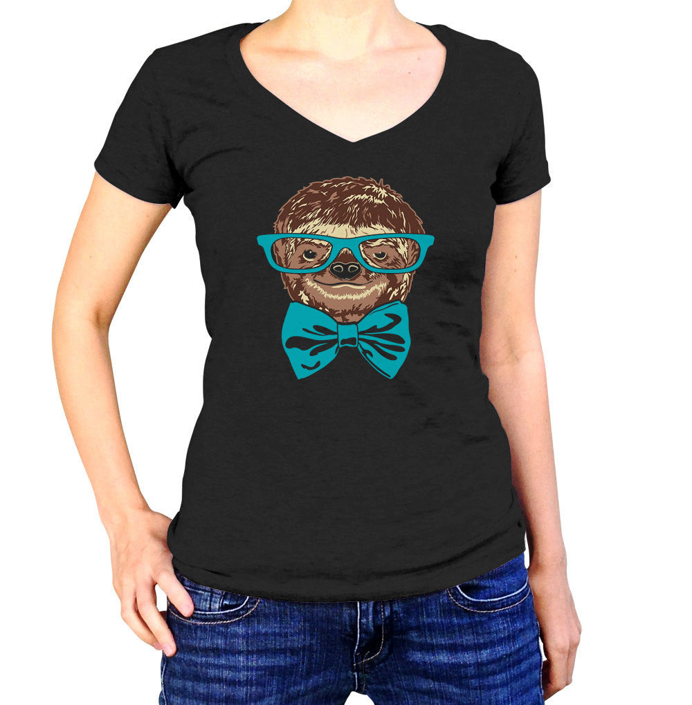 Women's Glasses and Bowtie on a Sloth Vneck T-Shirt Hipster Sloth