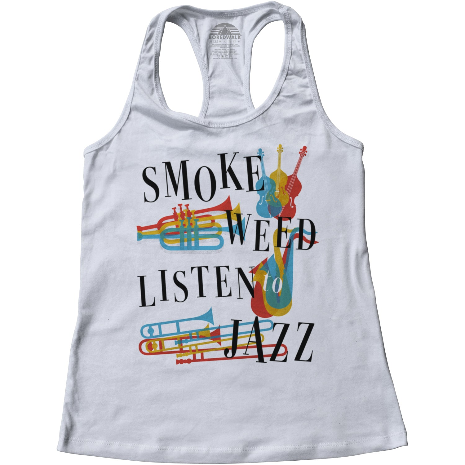 Women's Smoke Weed Listen to Jazz Racerback Tank Top