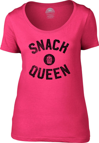 Women's Snack Queen Scoop Neck Shirt Hungry Foodie Snacks