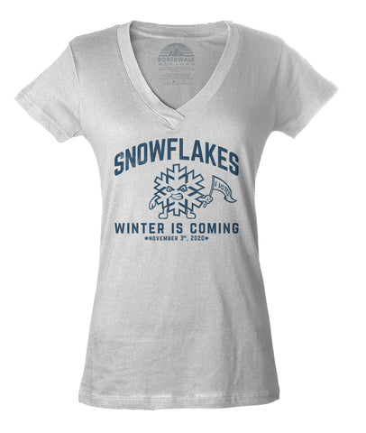 Women's Winter is Coming Snowflake Vneck T-Shirt - Liberal Resist Shirt