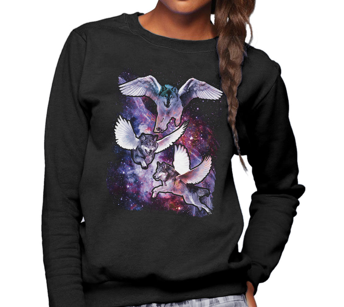 Unisex Wolves With Wings in Space Sweatshirt