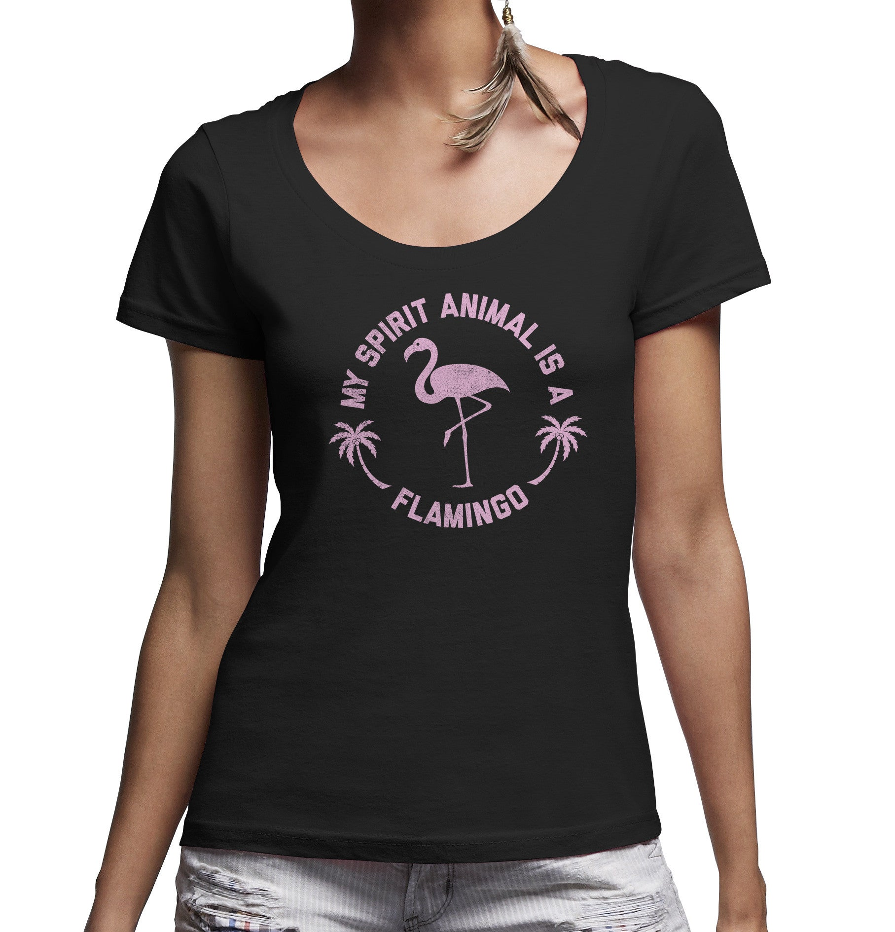 Women's My Spirit Animal is a Flamingo Scoop Neck Shirt