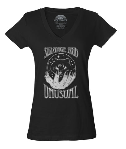 Women's Strange and Unusual Vneck T-Shirt - Occult shirt - Pastel Goth Shirt - Black Cat Shirt