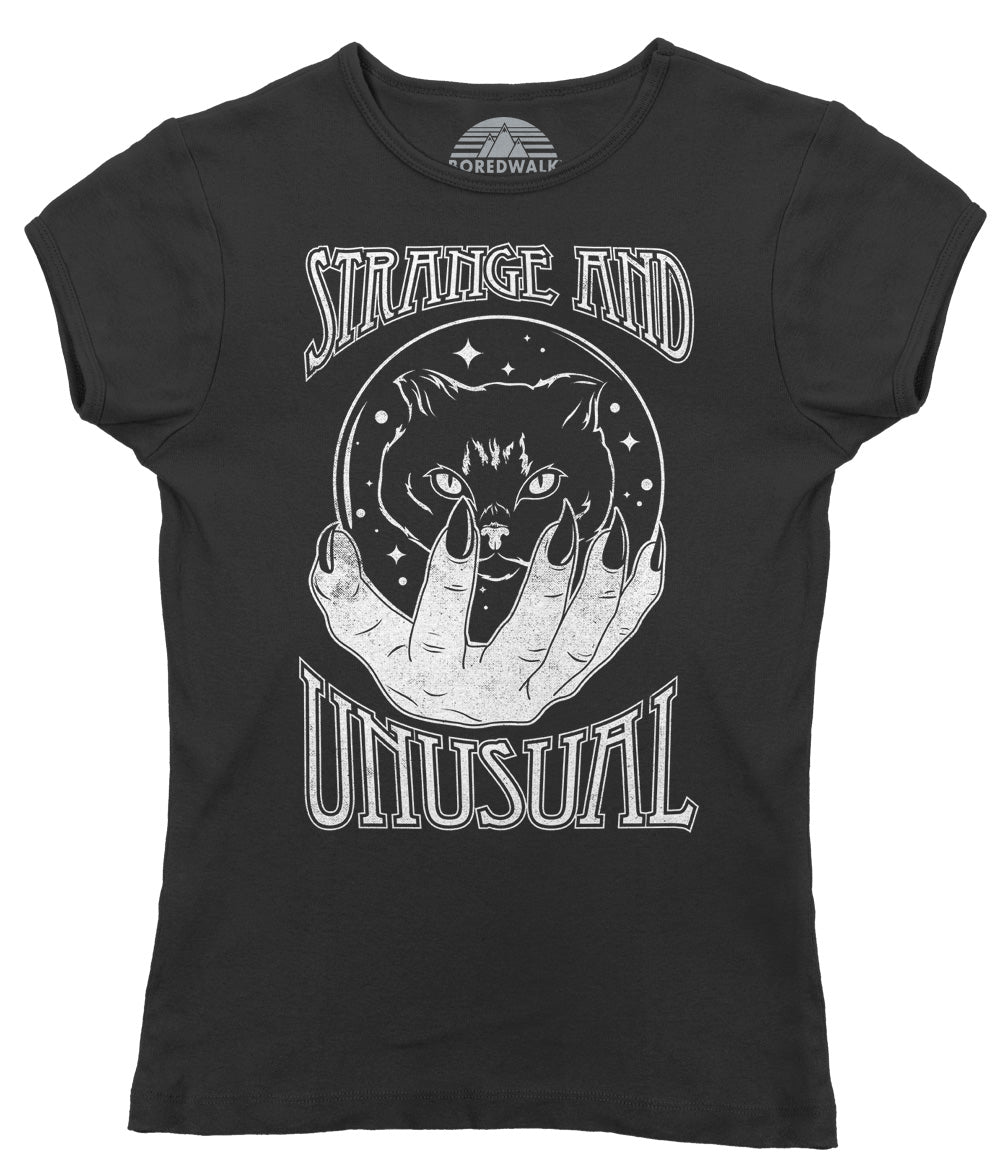 Women's Strange and Unusual T-Shirt - Occult shirt - Pastel Goth Shirt - Black Cat Shirt