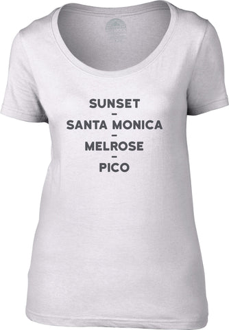 Women's Sunset Santa Monica Melrose Pico Scoop Neck Shirt Los Angeles