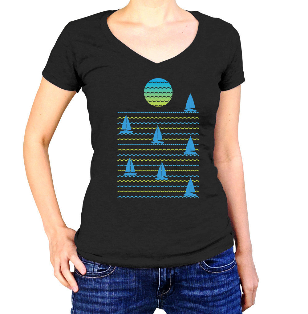 Women's Set Sail for Sunset Vneck T-Shirt