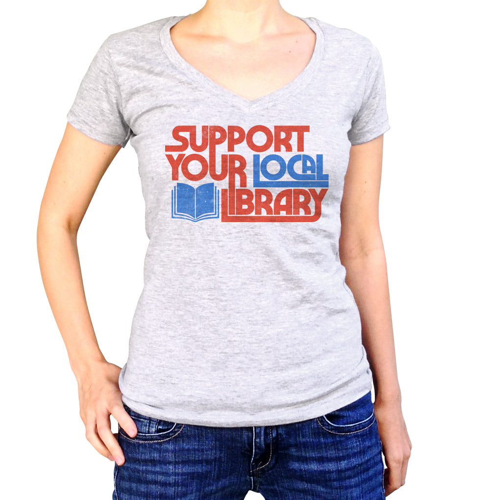 Women's Support Your Local Library Vneck T-Shirt