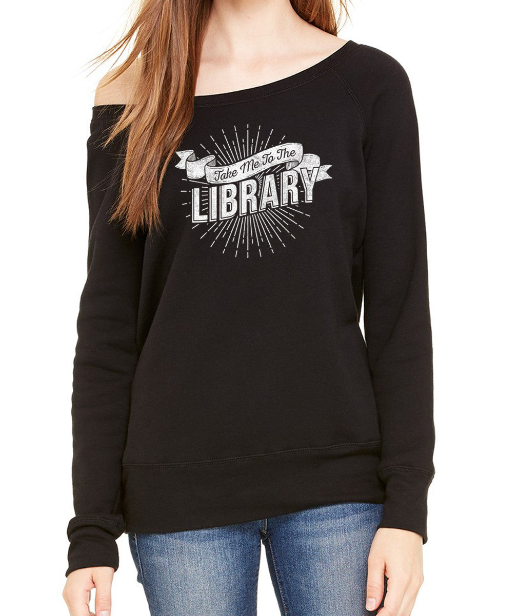 Women's Take Me To The Library Scoop Neck Fleece - Juniors Fit