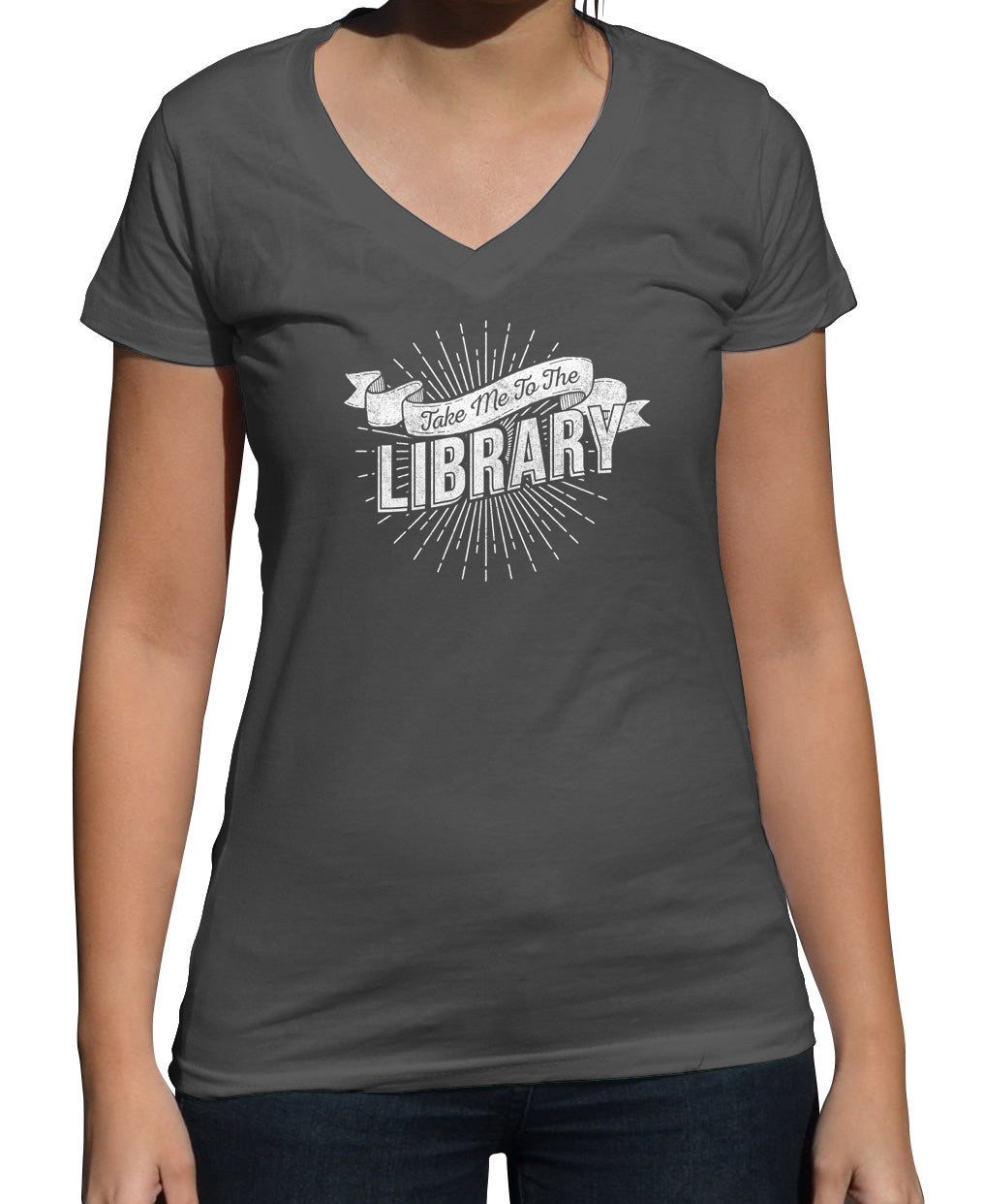 Women's Take Me To The Library Vneck T-Shirt
