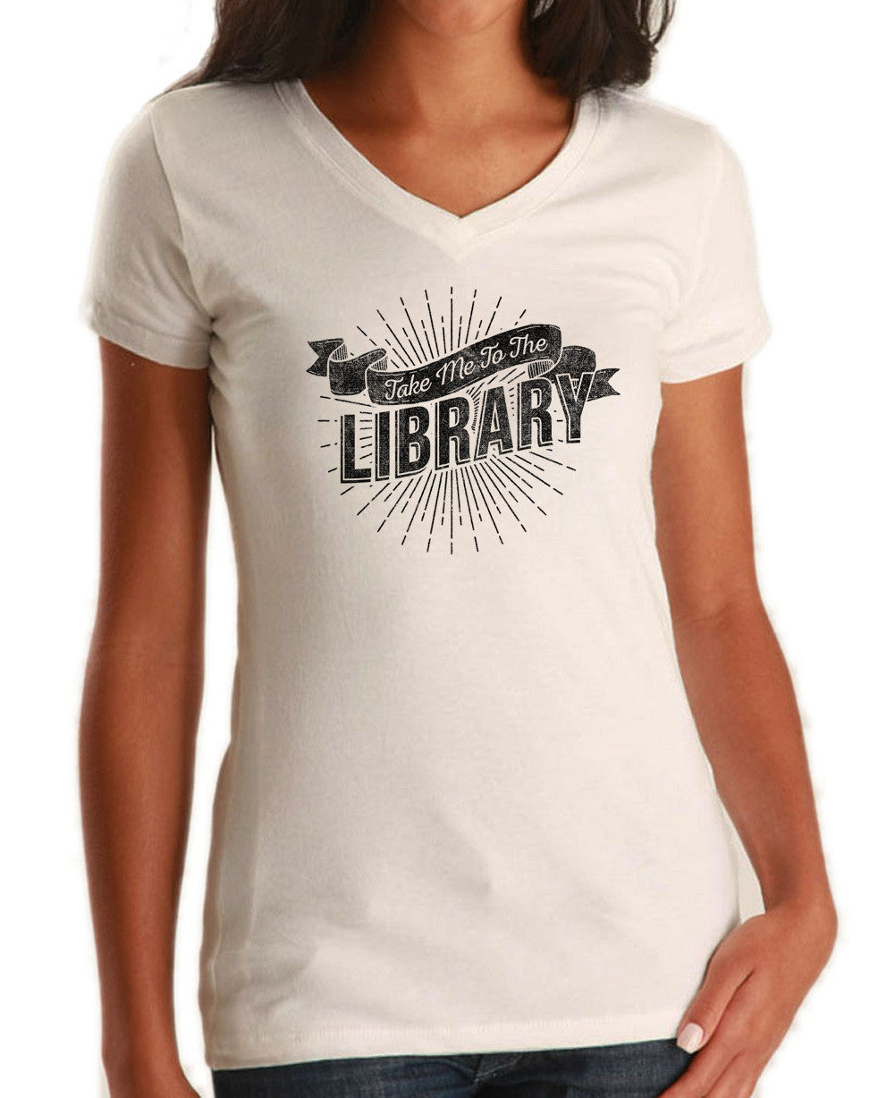 Women's Take Me To The Library Vneck T-Shirt - Juniors Fit