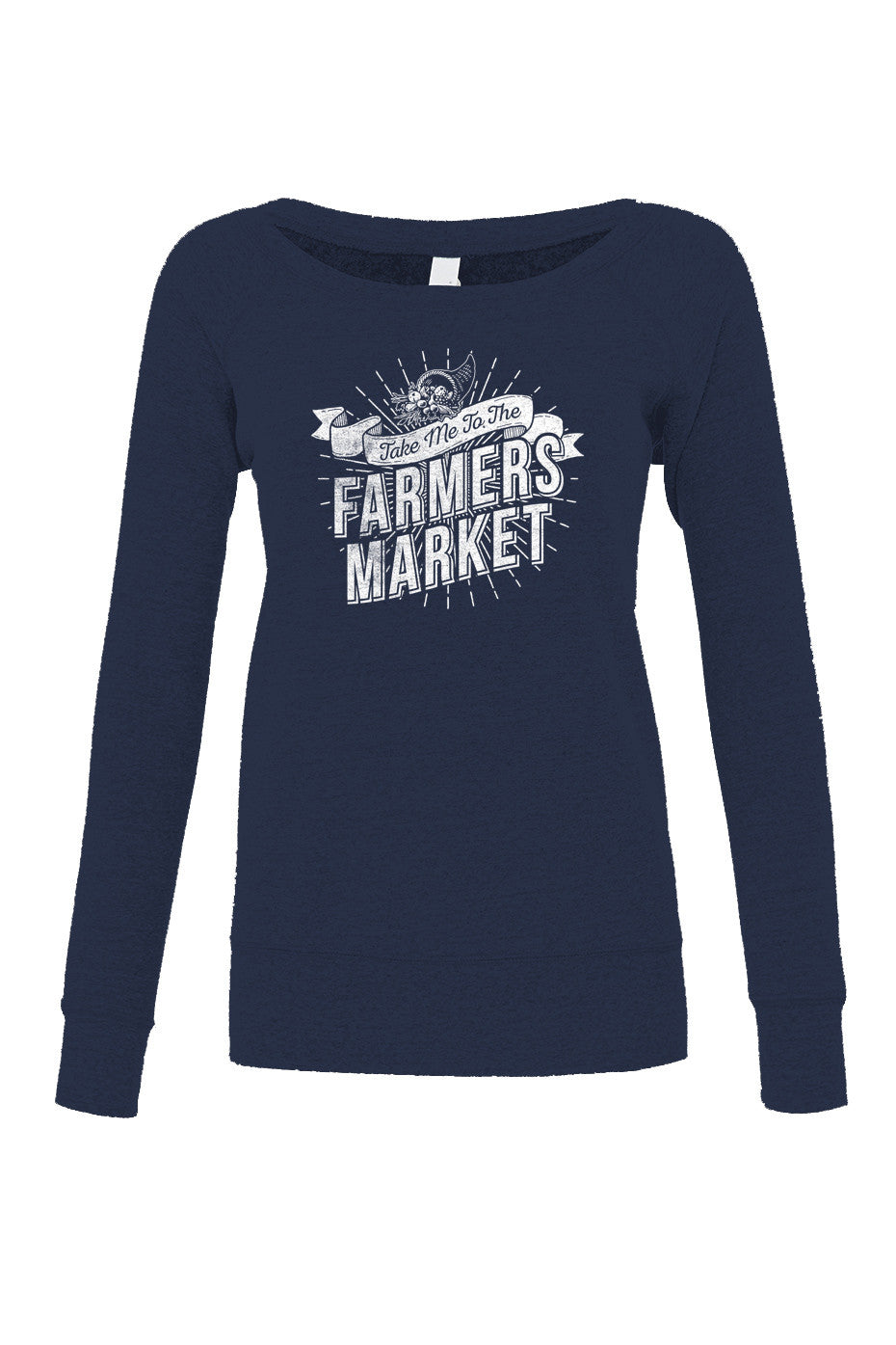 Women's Take me to the Farmers Market Scoop Neck Fleece - Cool Hipster Foodie