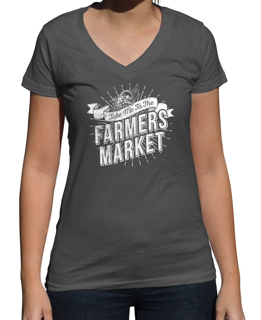 Women's Take me to the Farmers Market Vneck T-Shirt - Cool Hipster Foodie