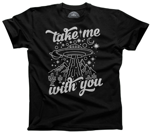 Men's Take Me With You Alien UFO Shirt T-Shirt