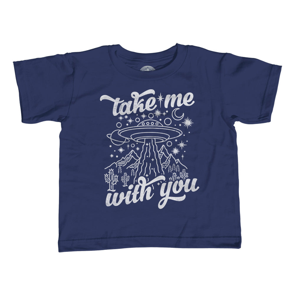 Boy's Take Me With You Alien UFO Shirt T-Shirt