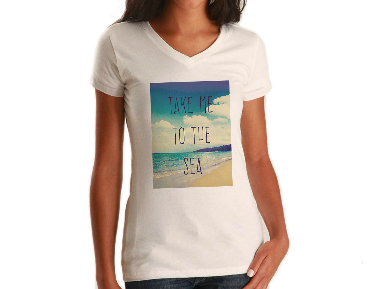 Women's Take me to the Sea Vneck T-Shirt Beach Ocean