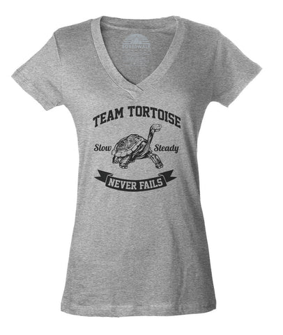 Women's Slow And Steady Tortoise Vneck T-Shirt - Juniors Fit