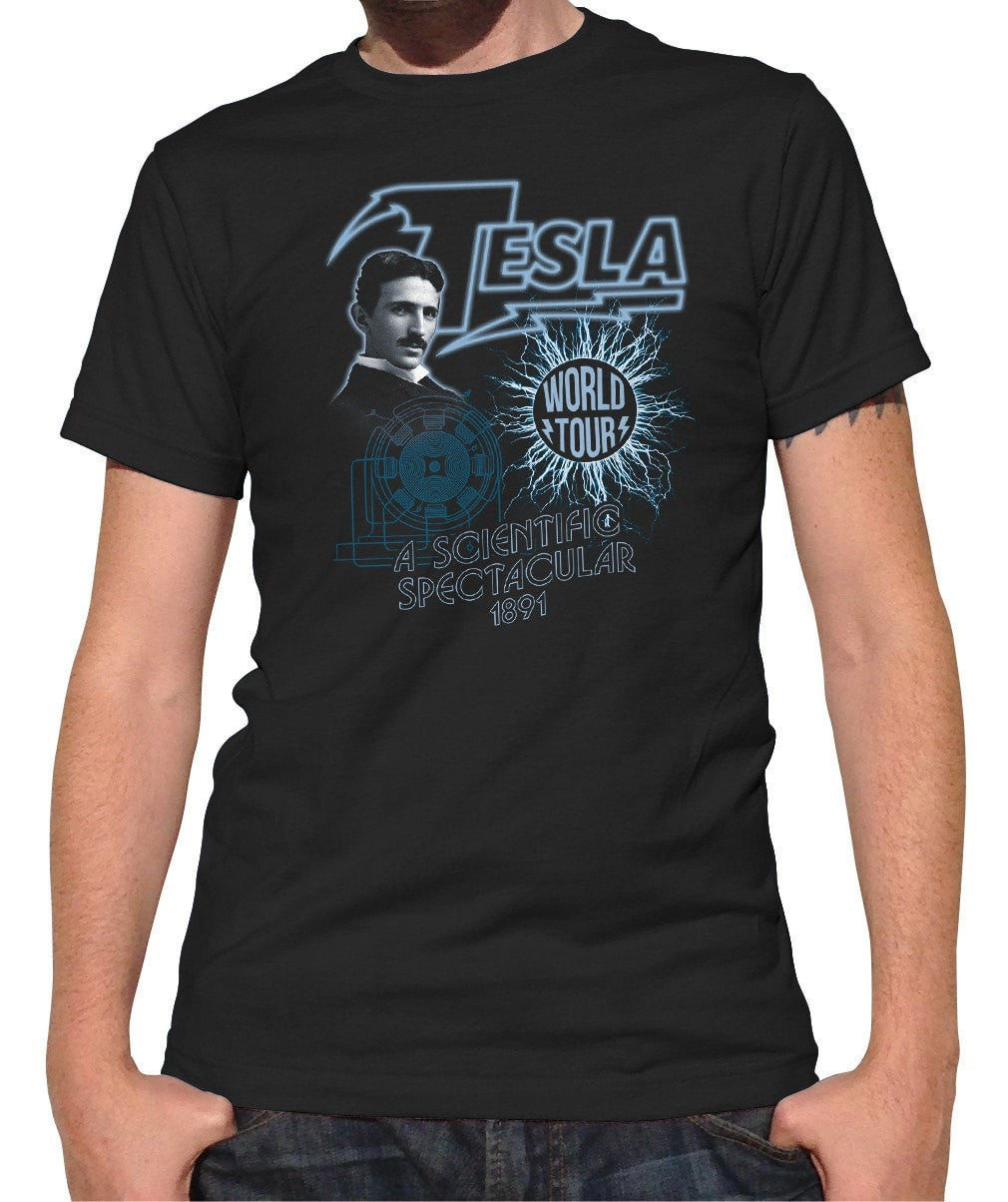 Men's Nikola Tesla World Tour T-Shirt Geeky Cool Science