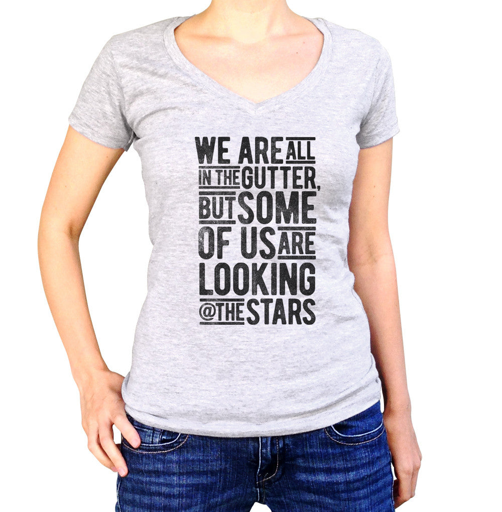 Women's Looking At The Stars Oscar Wilde Vneck T-Shirt