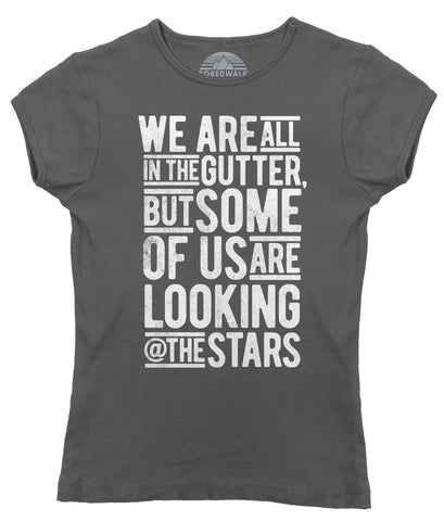 Women's Looking At The Stars Oscar Wilde T-Shirt - Juniors Fit