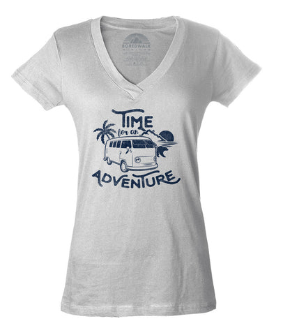 Women's Time For An Adventure Vneck T-Shirt - Juniors Fit