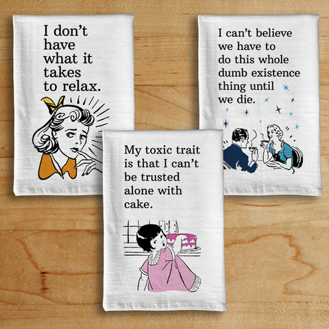 Retro Dark Humor Dish Towels - Set of 3