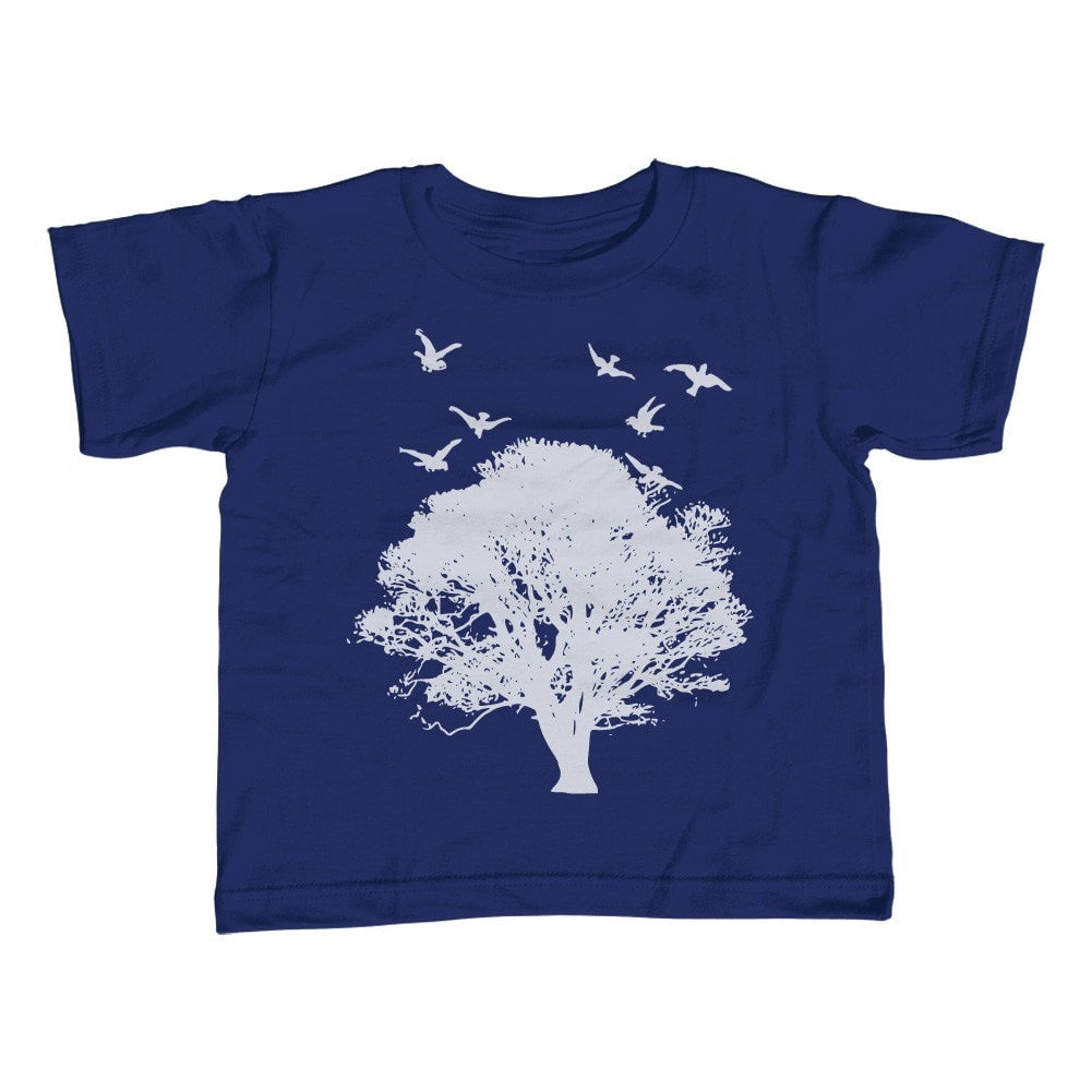 Boy's Tree and Birds T-Shirt Cool Hipster Nature